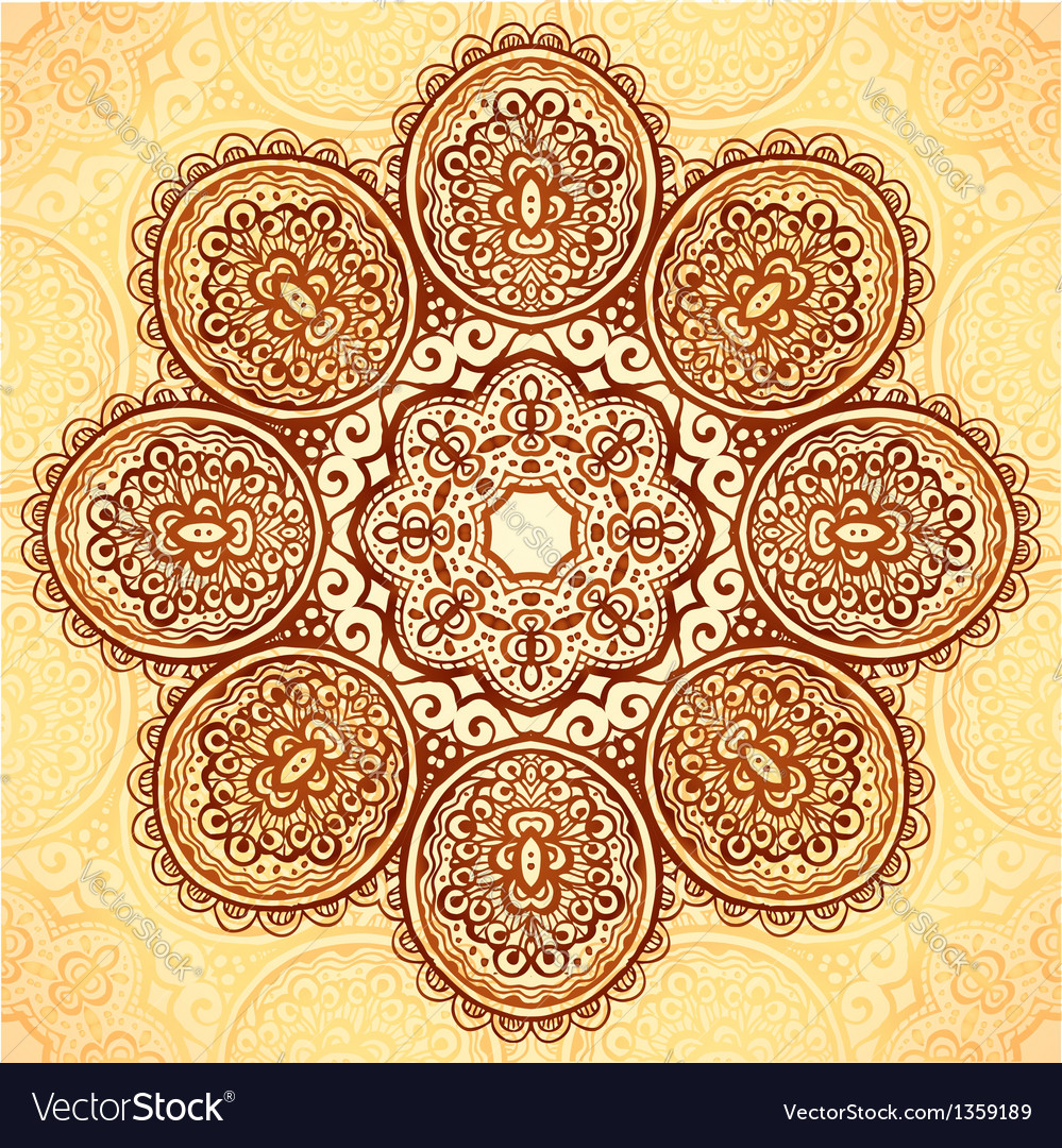 Ornate vintage flower napkin background vector | Price: 1 Credit (USD $1)