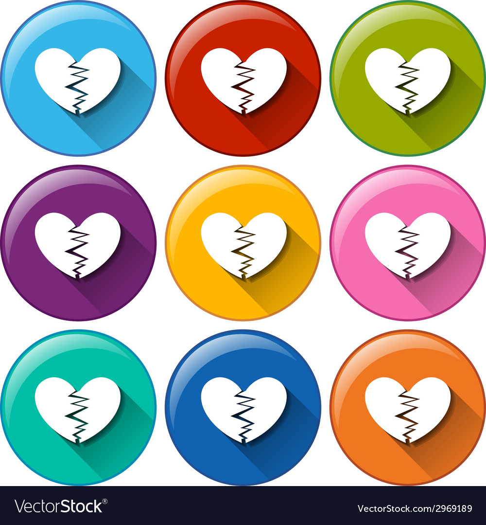 Round buttons with broken hearts vector | Price: 1 Credit (USD $1)