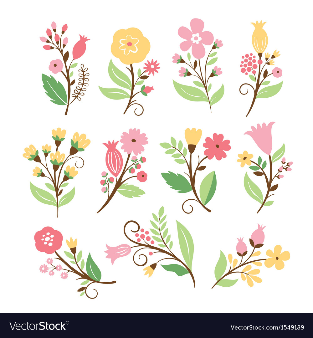 Set of cute flowers vector | Price: 3 Credit (USD $3)