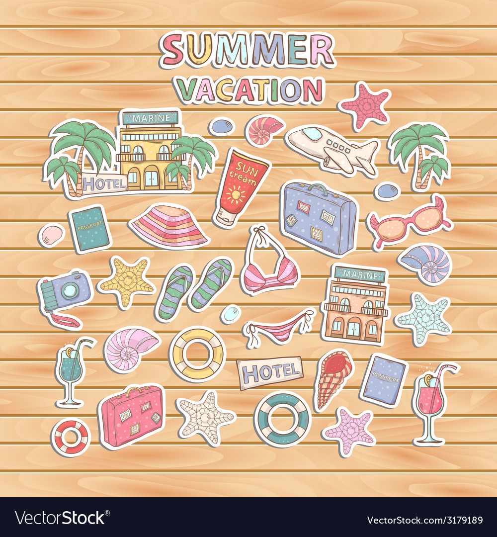 Summer vacation scrap setscrapbook setsticker vector | Price: 1 Credit (USD $1)