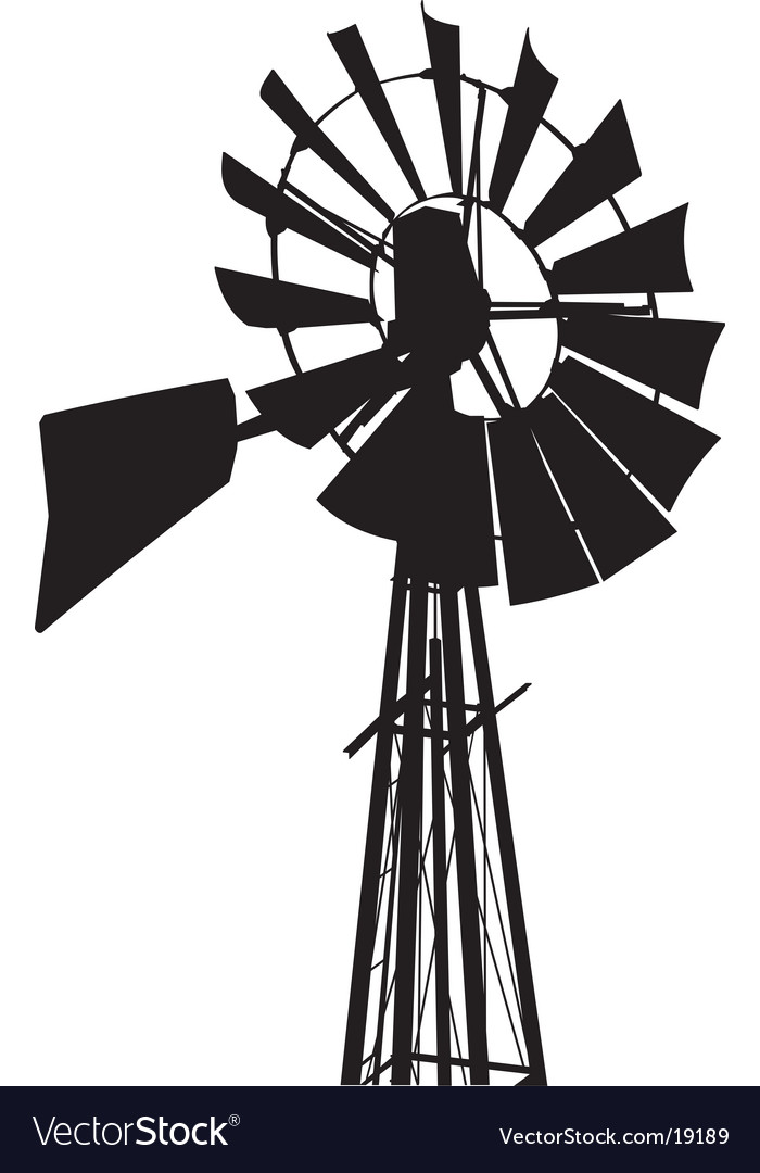Windmill silhouette vector | Price: 1 Credit (USD $1)