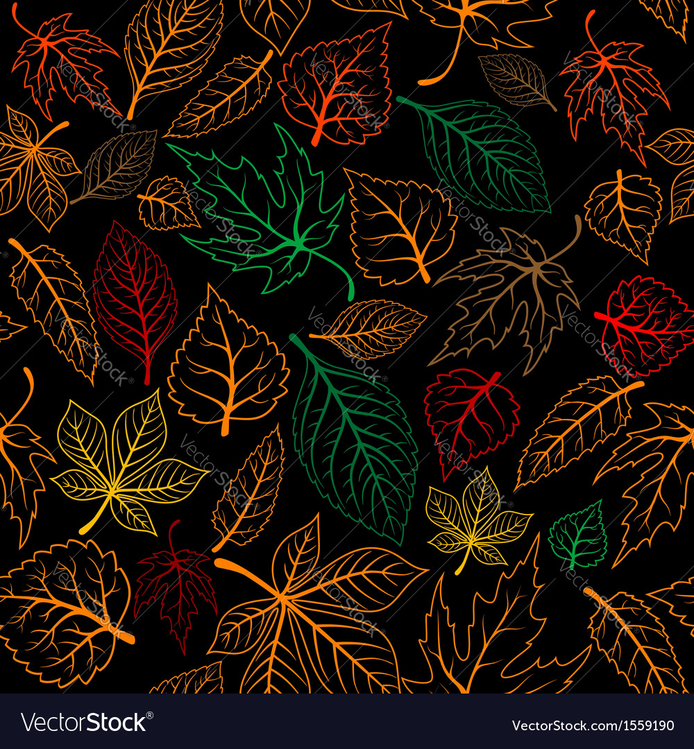 Autumnal leaves seamless background vector | Price: 1 Credit (USD $1)