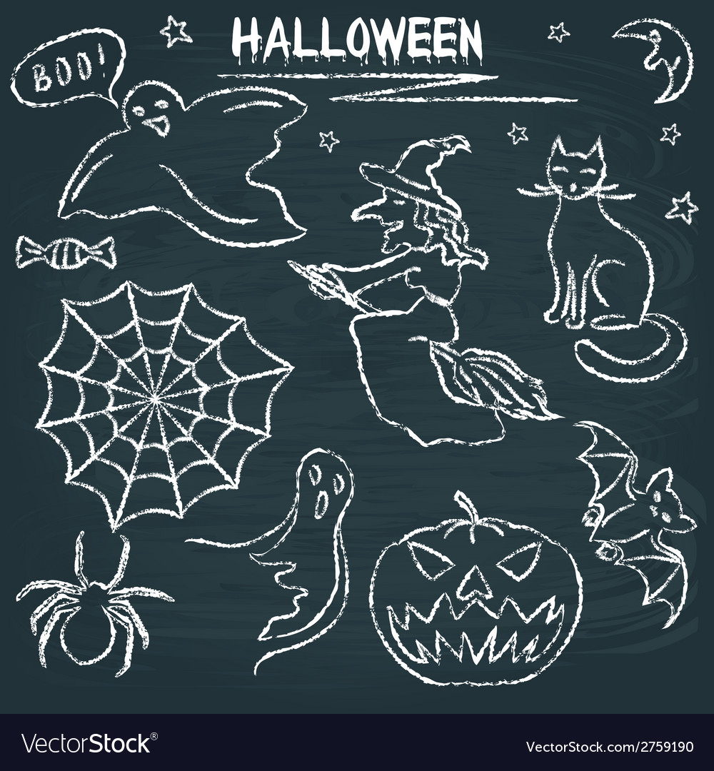 Chalkboard halloween silhouette set vector | Price: 1 Credit (USD $1)