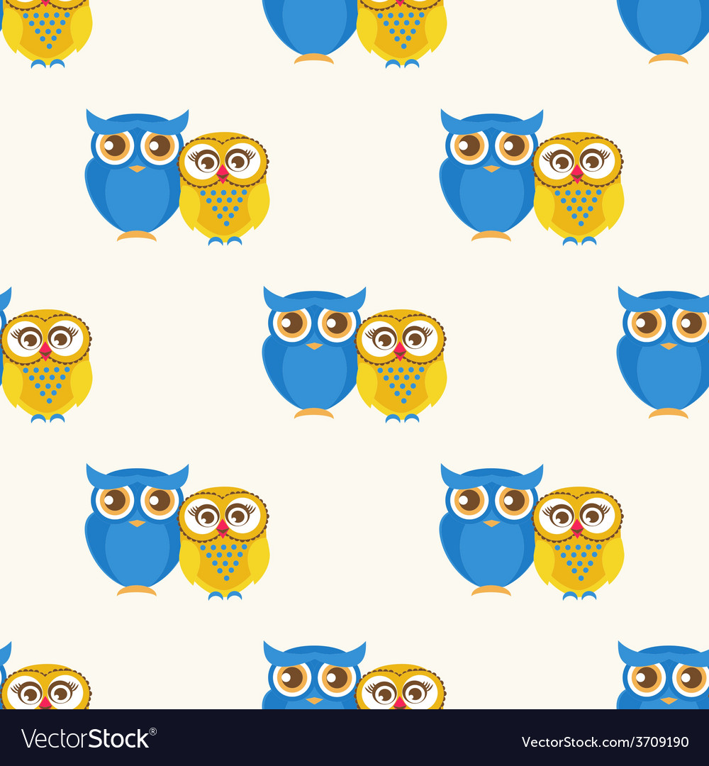 Cute seamless pattern with owls couple vector | Price: 1 Credit (USD $1)