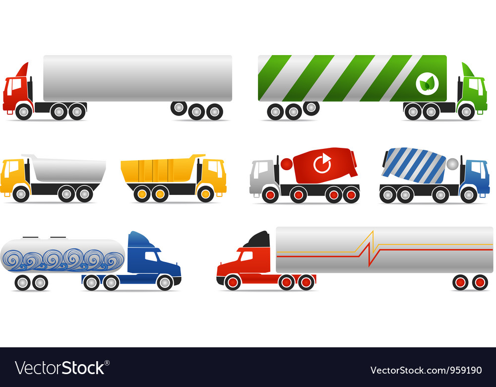 Different types of trucks vector | Price: 1 Credit (USD $1)