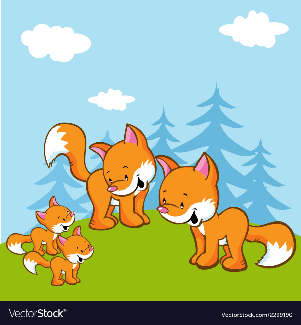 Fox family on meadow near the forest vector | Price: 1 Credit (USD $1)