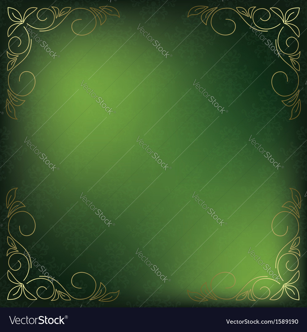 Green card with golden decor in the corners vector | Price: 1 Credit (USD $1)