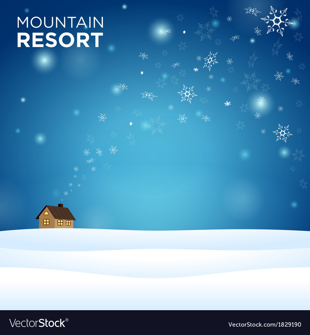 Mountain resort alone hous on snow vector | Price: 1 Credit (USD $1)