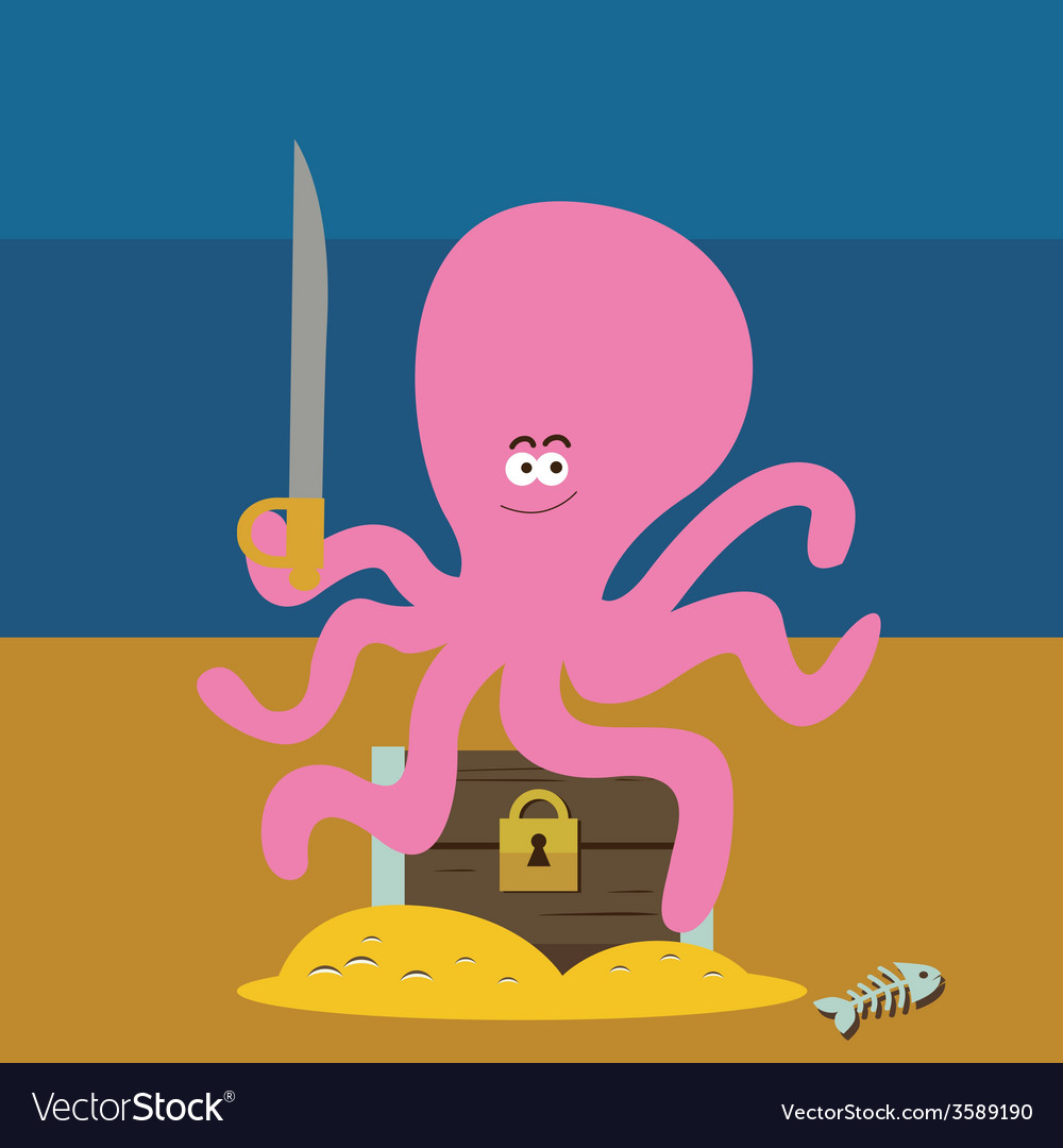 Pink octopus and chest with gold vector | Price: 1 Credit (USD $1)