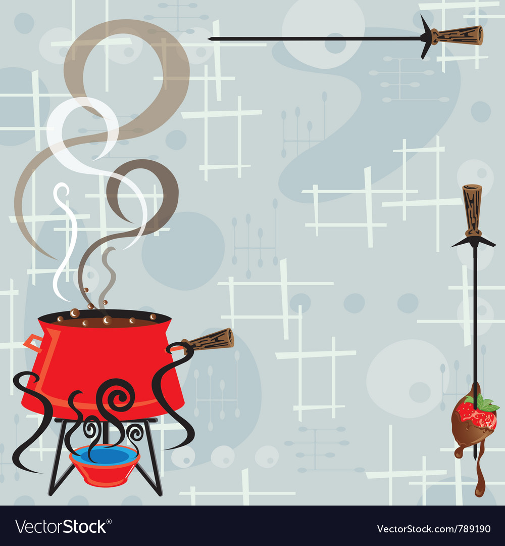 Retro chocolate fondue party vector | Price: 1 Credit (USD $1)