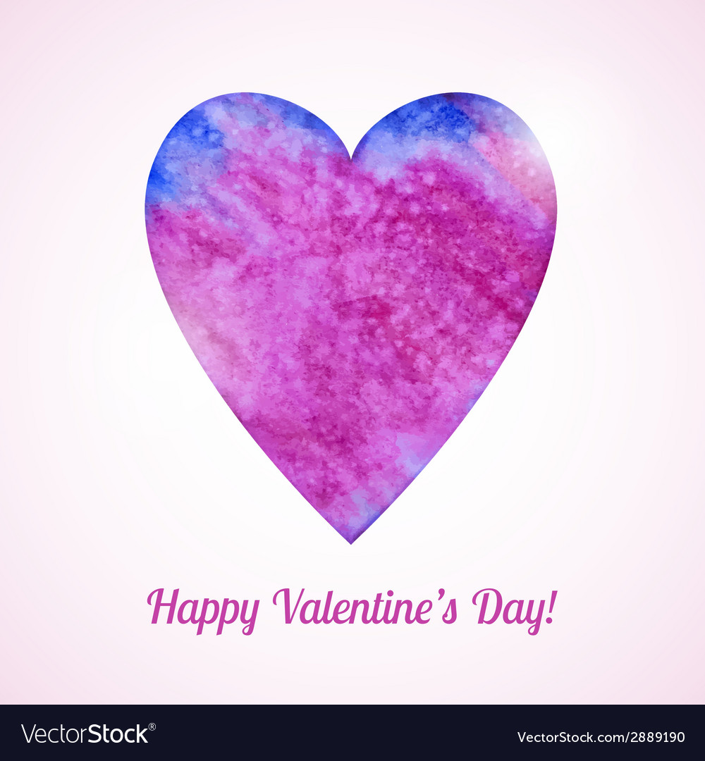 Romantic card with watercolor heart vector | Price: 1 Credit (USD $1)