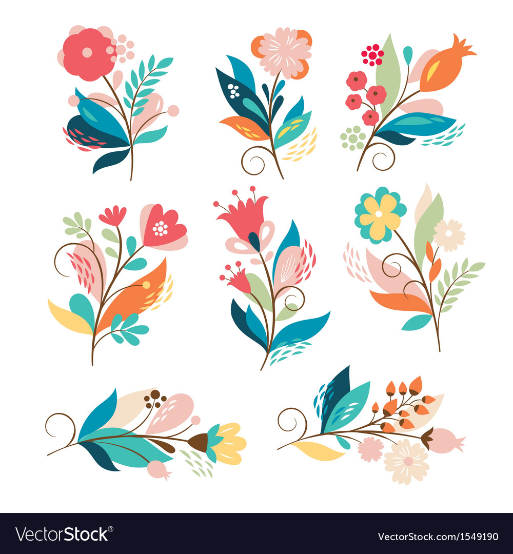 Set of cute cartoon flowers vector | Price: 3 Credit (USD $3)