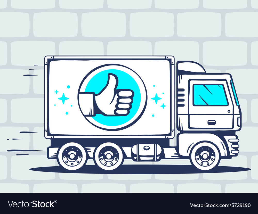 Truck free and fast delivering with label vector | Price: 1 Credit (USD $1)