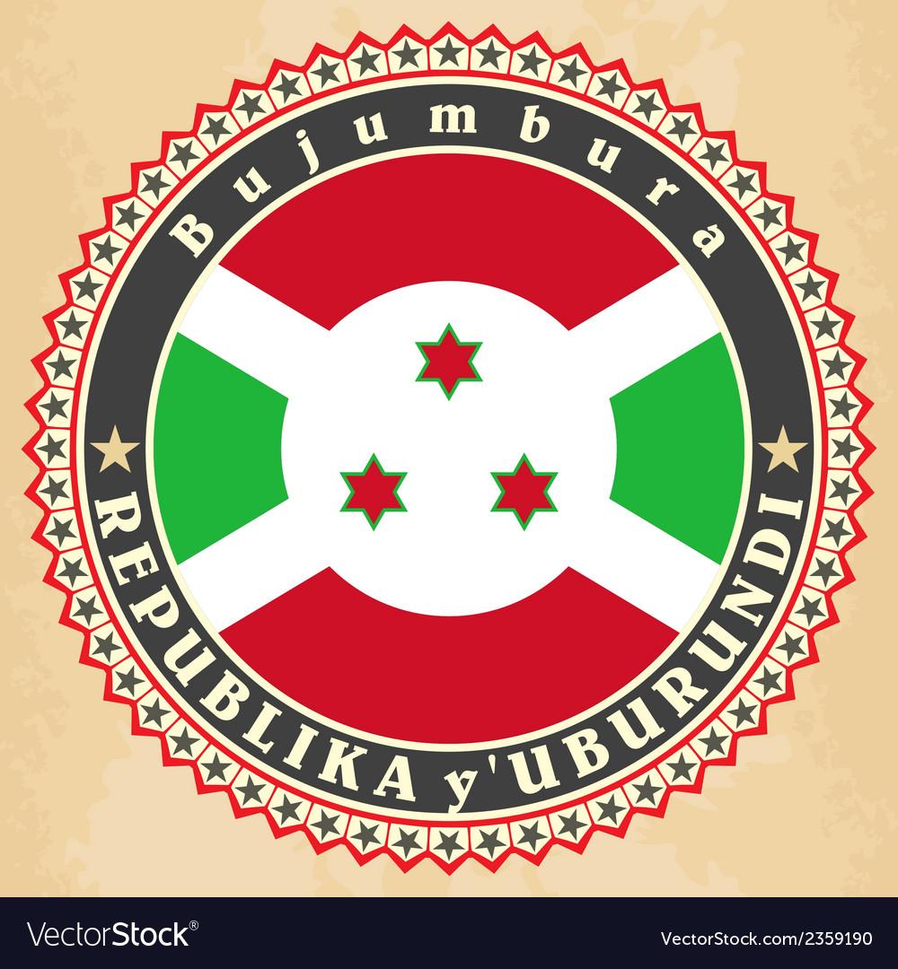 Vintage label cards of burundi flag vector | Price: 1 Credit (USD $1)