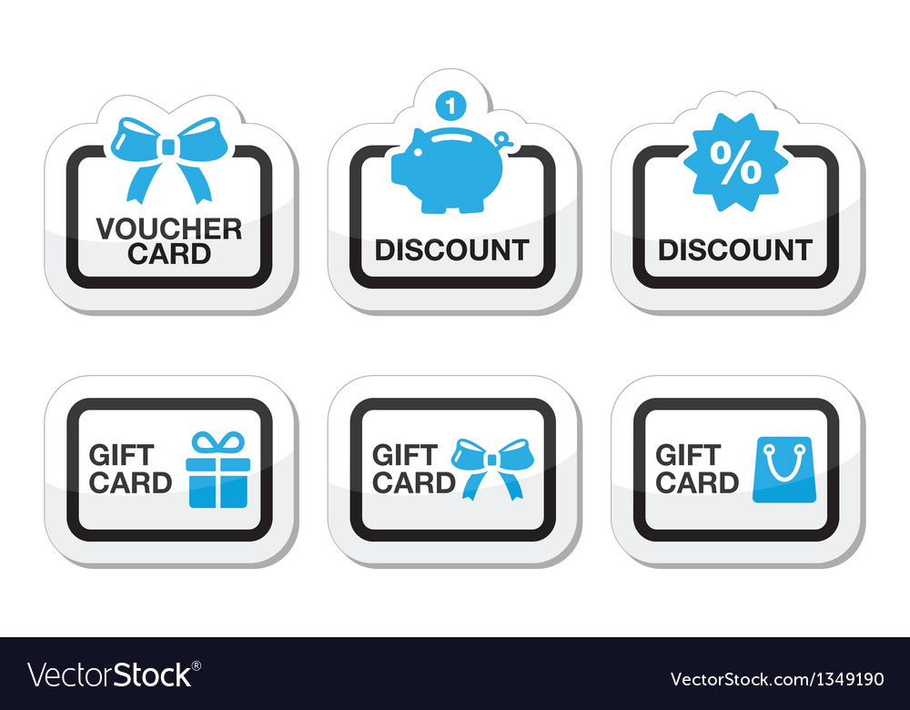 Voucher gift discount card icons set vector | Price: 1 Credit (USD $1)