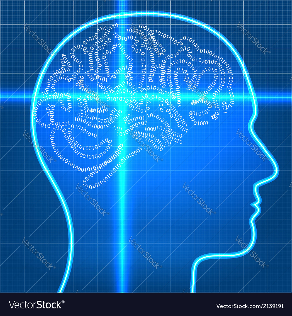 Digital artificial brain on scan over blueprint pa vector | Price: 1 Credit (USD $1)