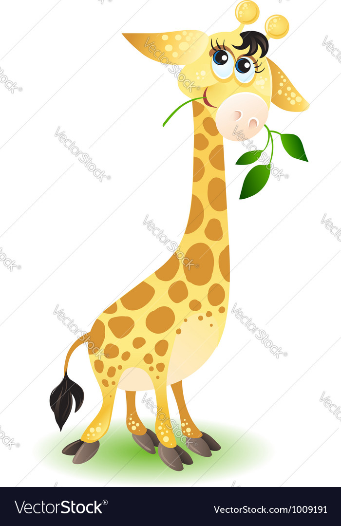 Happy very cute baby giraffe vector | Price: 1 Credit (USD $1)