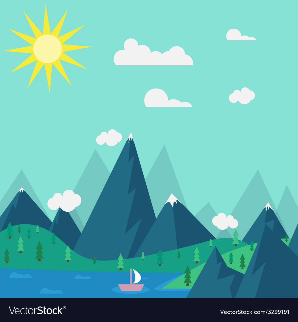 Natural landscape in the style of flat vector | Price: 1 Credit (USD $1)