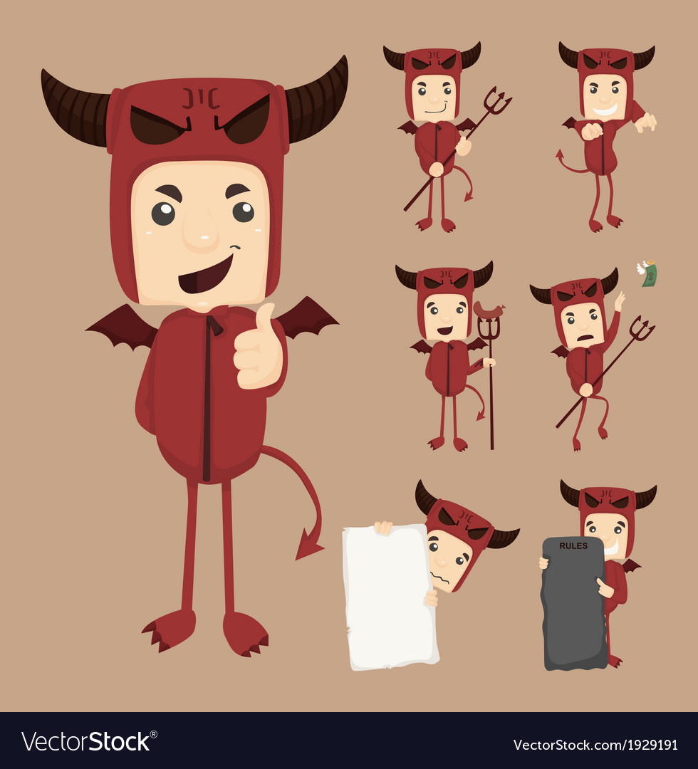 Set of devil characters poses vector | Price: 1 Credit (USD $1)