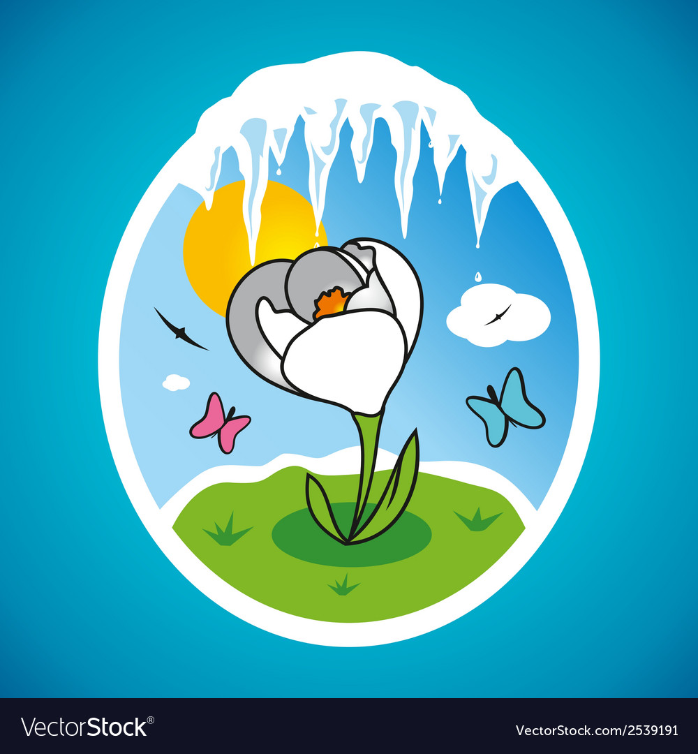 Spring snowdrop in frame vector | Price: 1 Credit (USD $1)