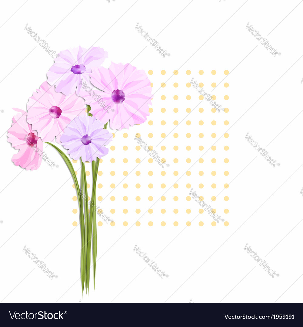 Springtime greeting card with colorful flowers vector | Price: 1 Credit (USD $1)