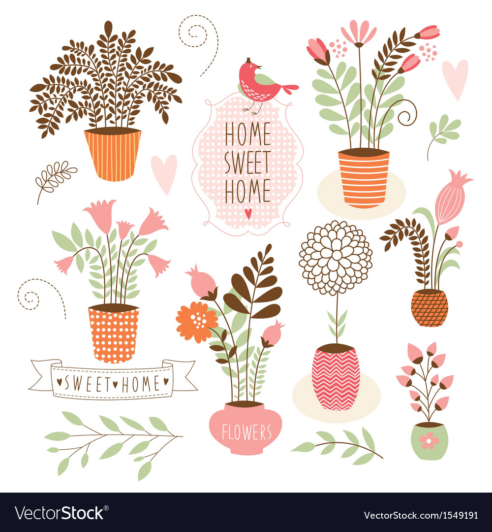 Sweet home set of cartoon floral elements vector | Price: 3 Credit (USD $3)