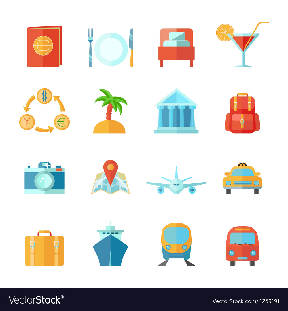 Travel icon flat set vector | Price: 1 Credit (USD $1)