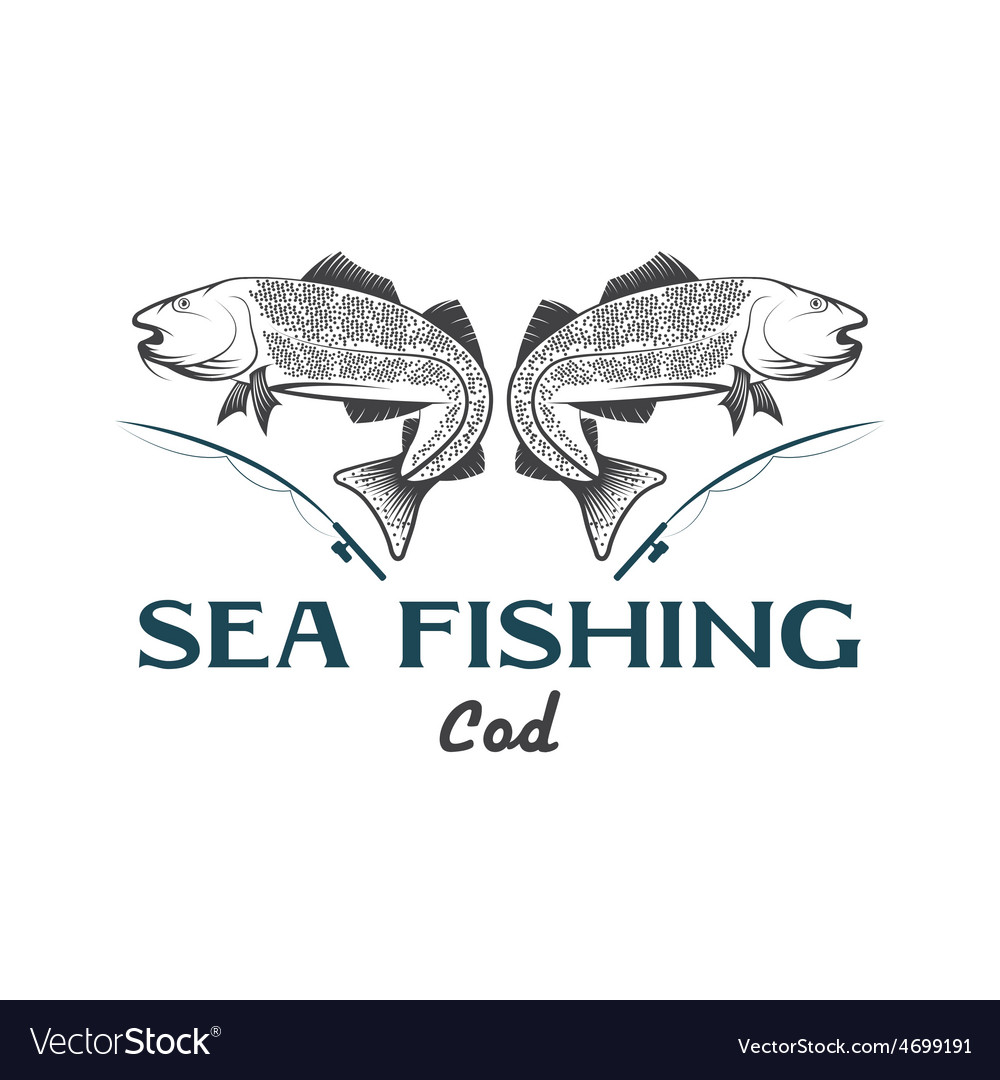 Vintage sea fishing with cod fish vector | Price: 1 Credit (USD $1)