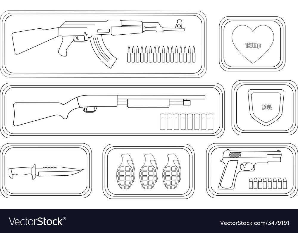 Weapons game resources line-art vector | Price: 1 Credit (USD $1)