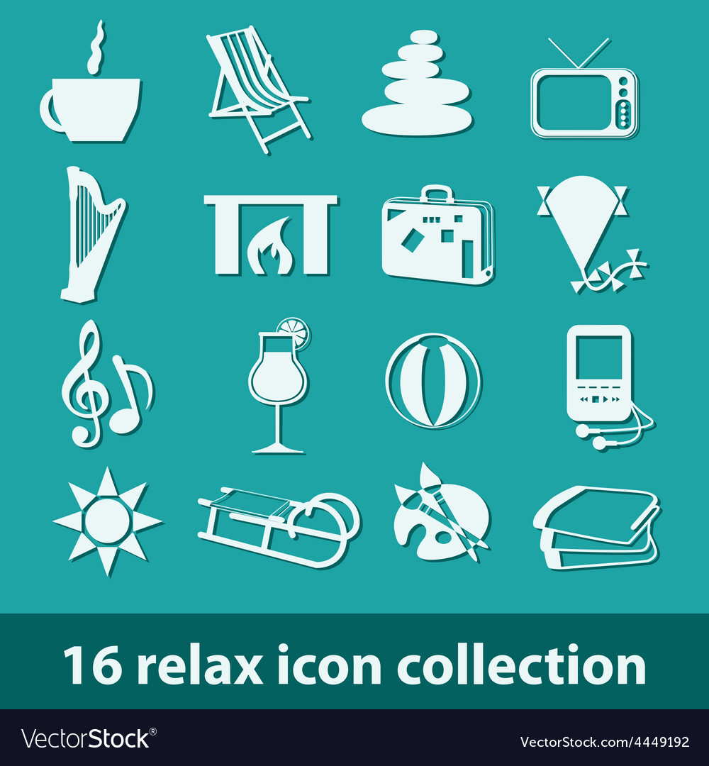 16 relax icon collection vector | Price: 1 Credit (USD $1)