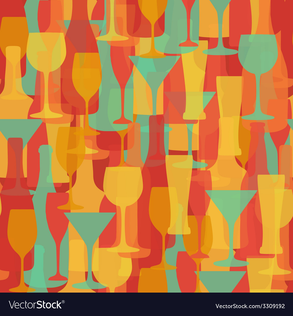Alcohol bottles and glasses seamless pattern beer vector | Price: 1 Credit (USD $1)