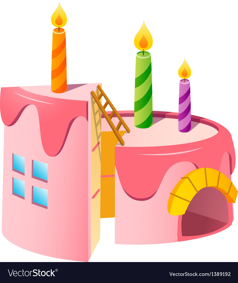 Icon cake and candle vector | Price: 1 Credit (USD $1)