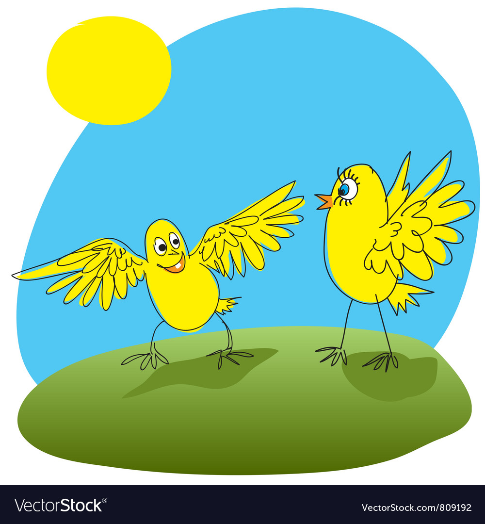 Joyful chicken welcomed friend vector | Price: 1 Credit (USD $1)