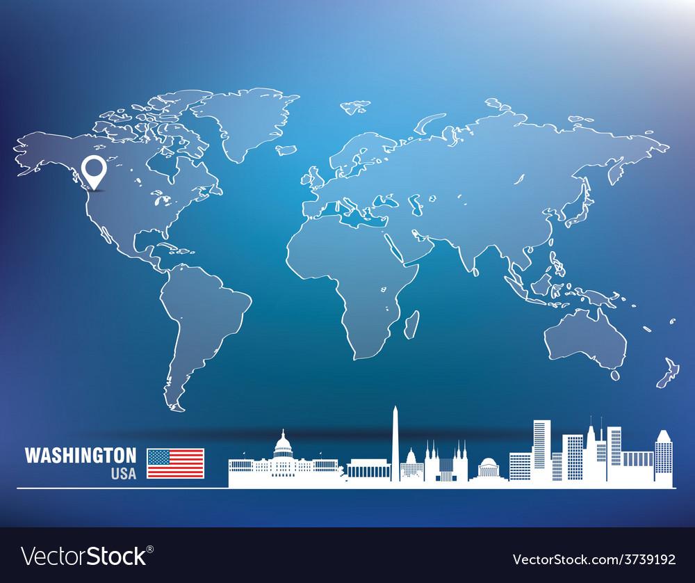 Map pin with washington skyline vector | Price: 1 Credit (USD $1)