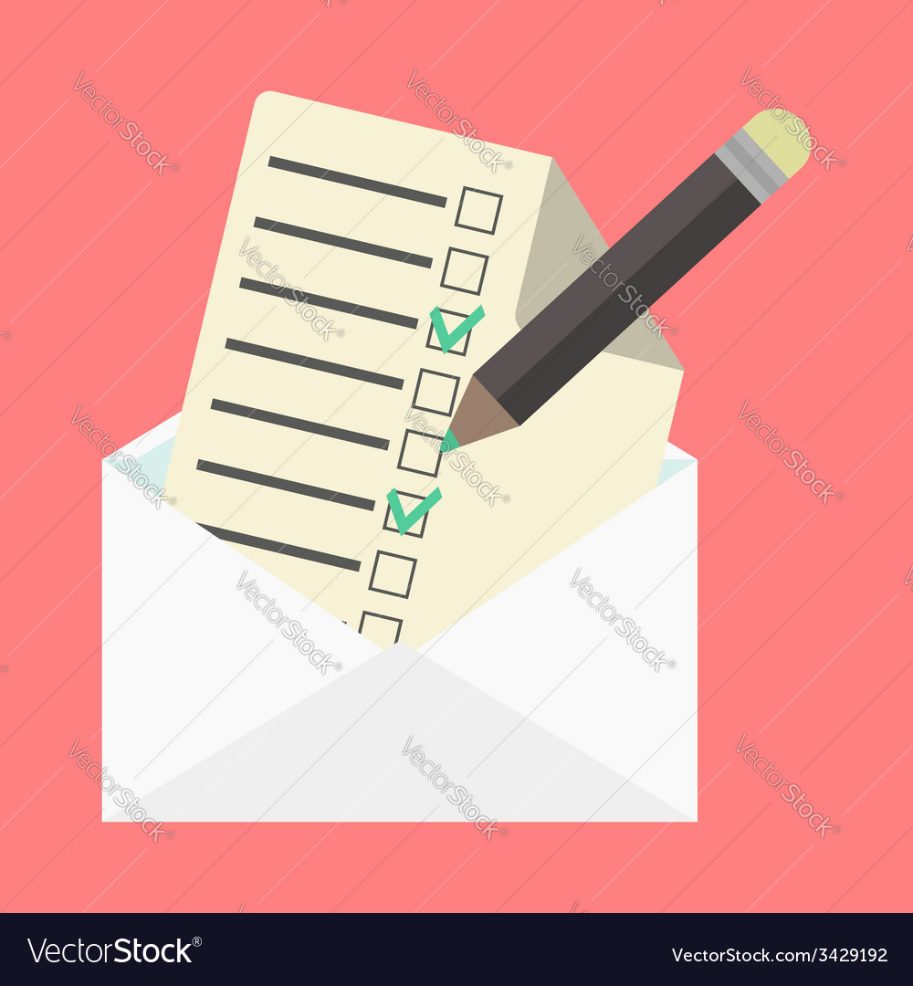 Open envelope and check list vector | Price: 1 Credit (USD $1)