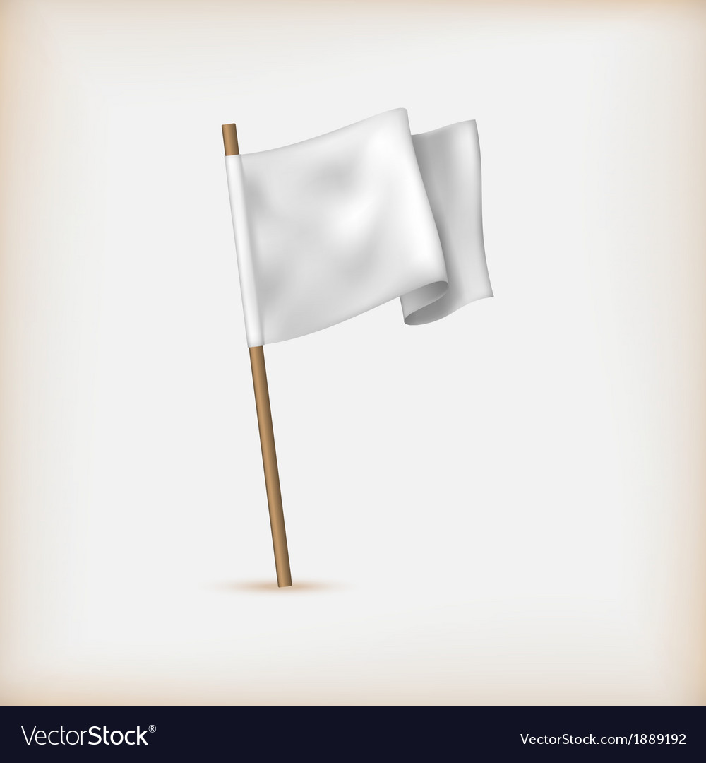 Realistic white flag icon surrender concept banner vector | Price: 1 Credit (USD $1)