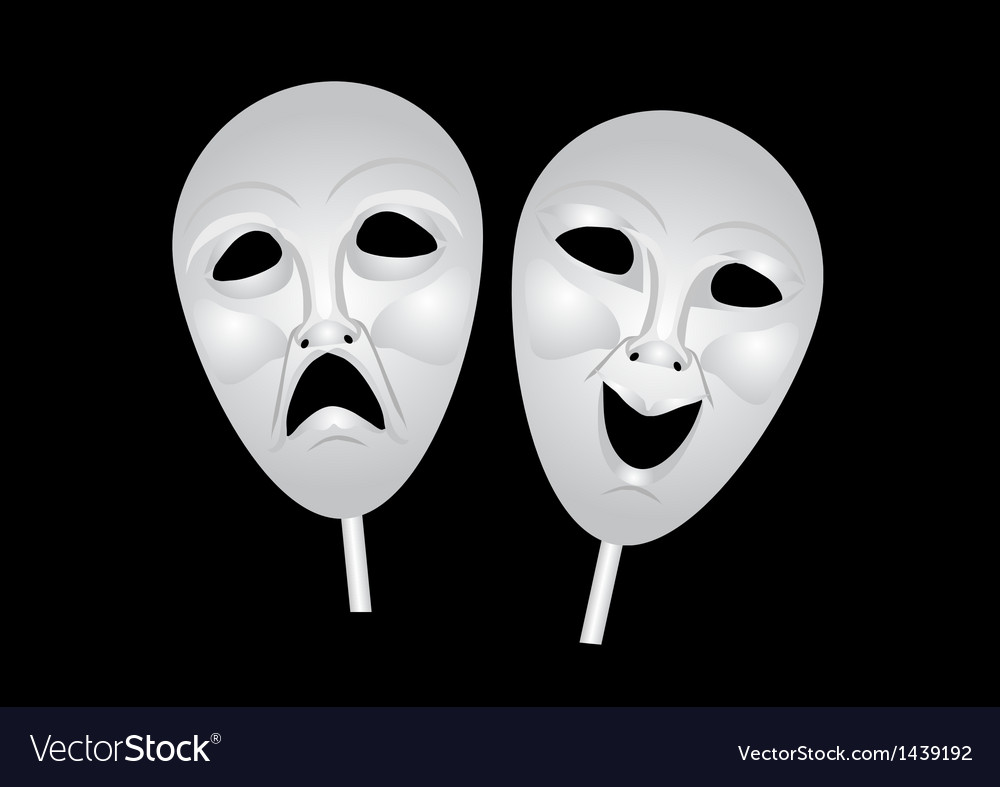Theater masks of drama and comedy vector | Price: 1 Credit (USD $1)