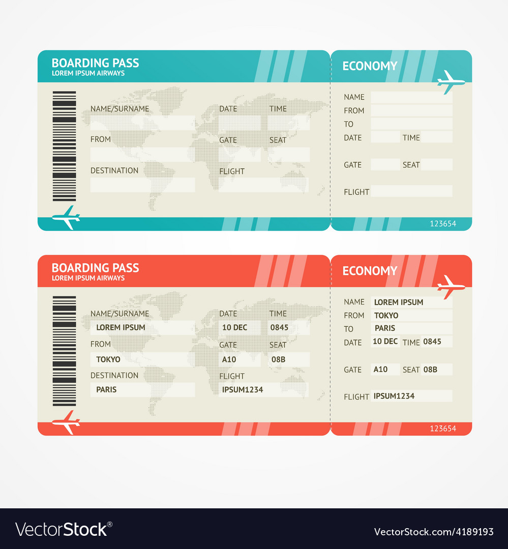 Airplane tickets vector | Price: 1 Credit (USD $1)