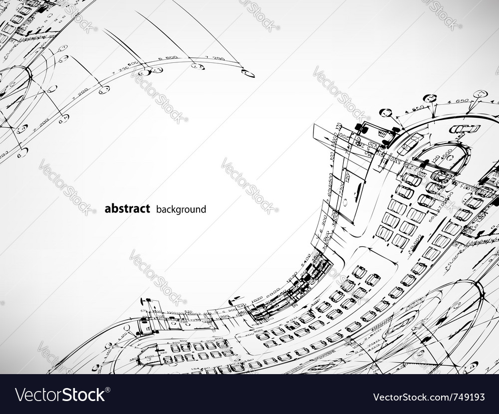 Architectural sketches background vector | Price: 1 Credit (USD $1)