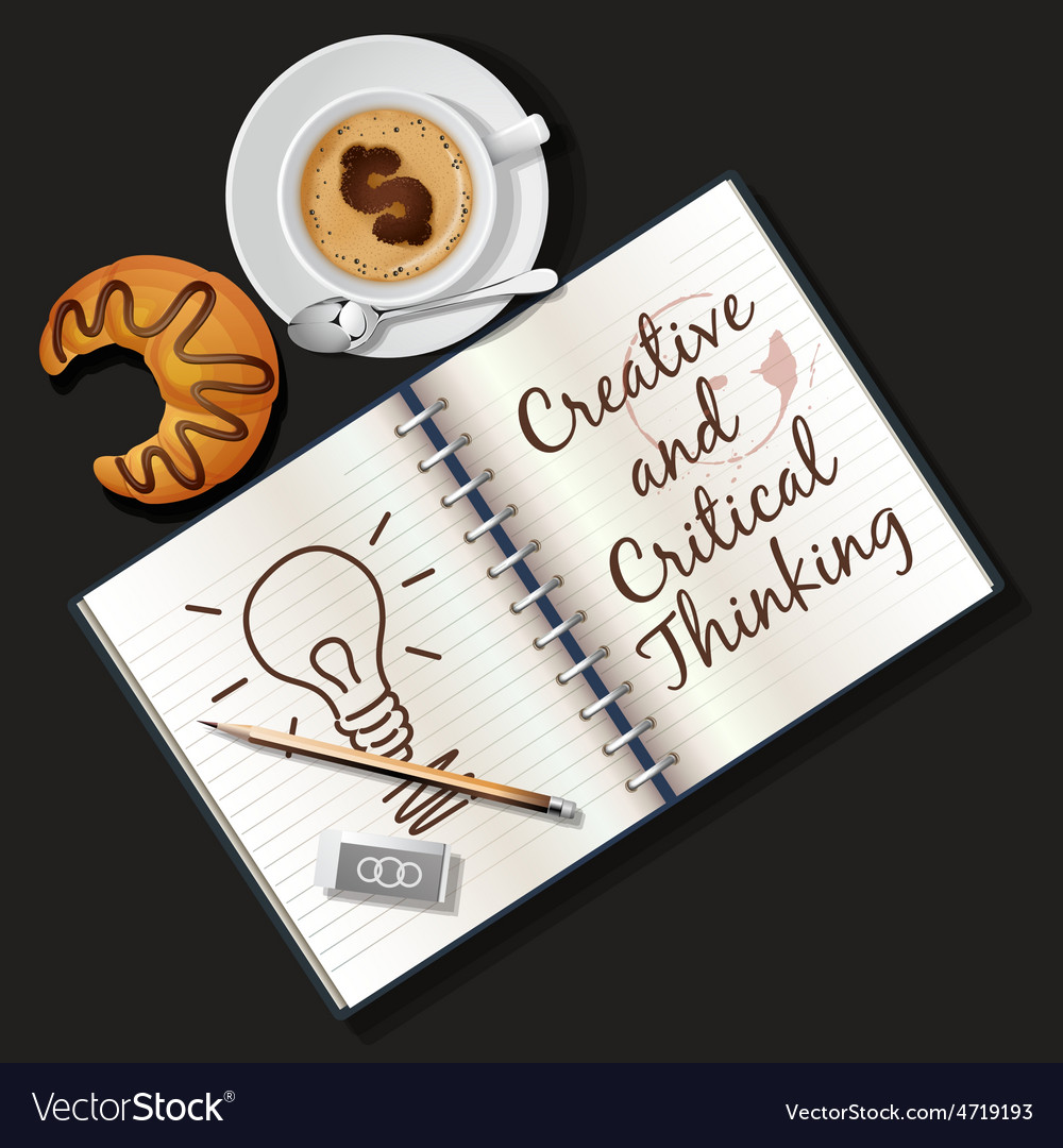 Booklet mug of cappuccino and croissant vector | Price: 3 Credit (USD $3)