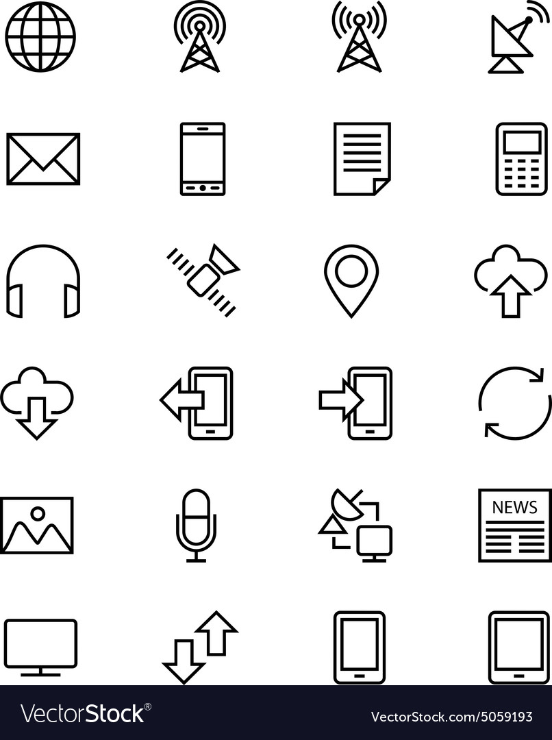 Communication line icons 1 vector