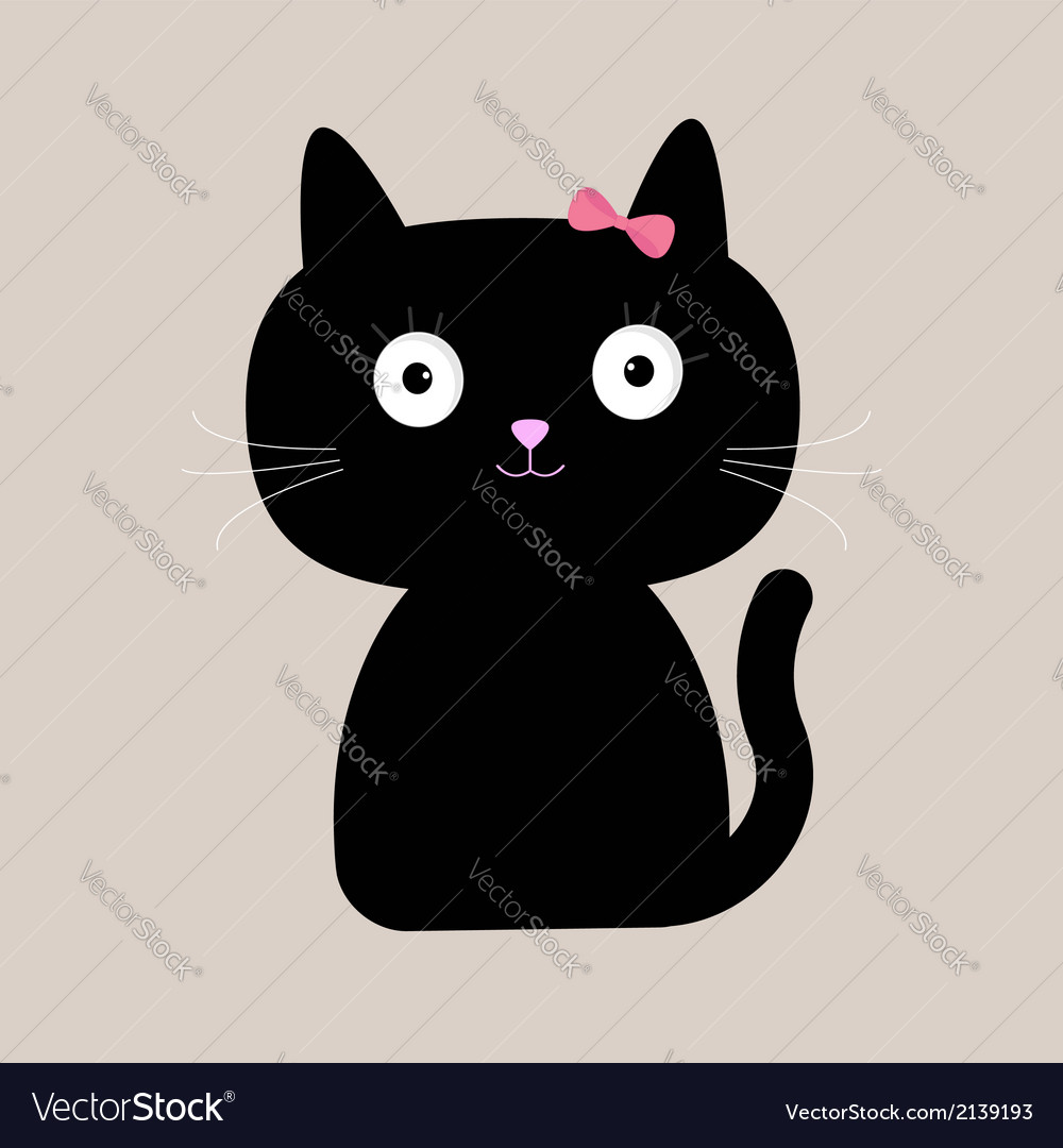 Cute cartoon black cat with big eyes vector | Price: 1 Credit (USD $1)