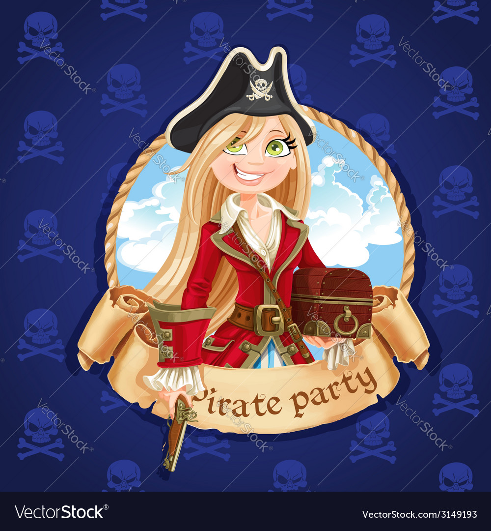 Cute pirate girl with treasure chest vector | Price: 3 Credit (USD $3)