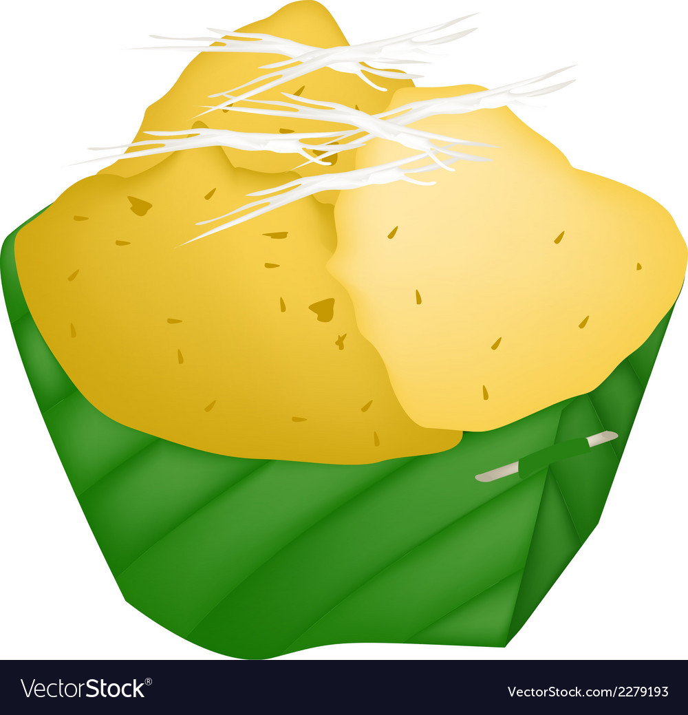 Dessert product of sugar palm in count banana leaf vector | Price: 1 Credit (USD $1)