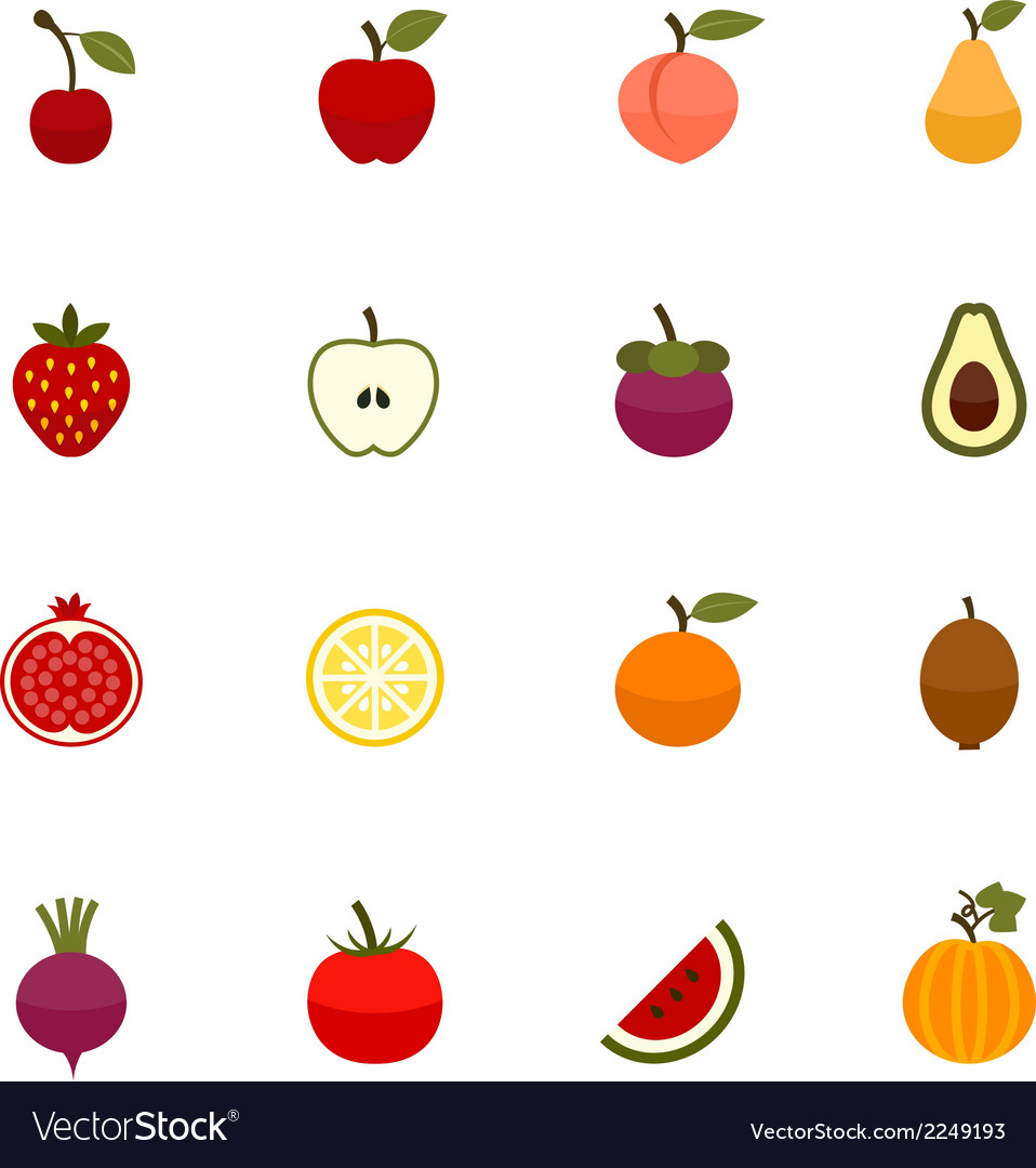Fruits and vegetables icons vector | Price: 1 Credit (USD $1)