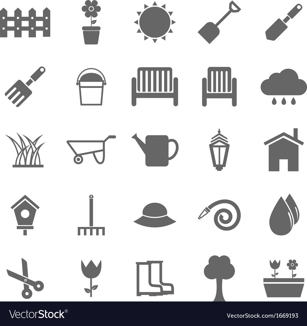 Gardening icons on white background vector | Price: 1 Credit (USD $1)
