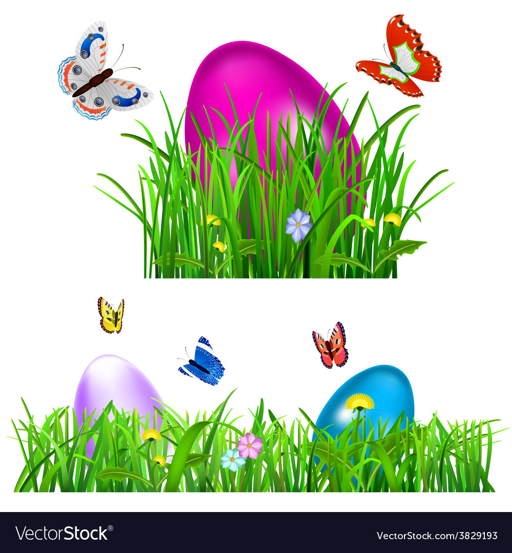 Green grass with easter eggs vector | Price: 1 Credit (USD $1)