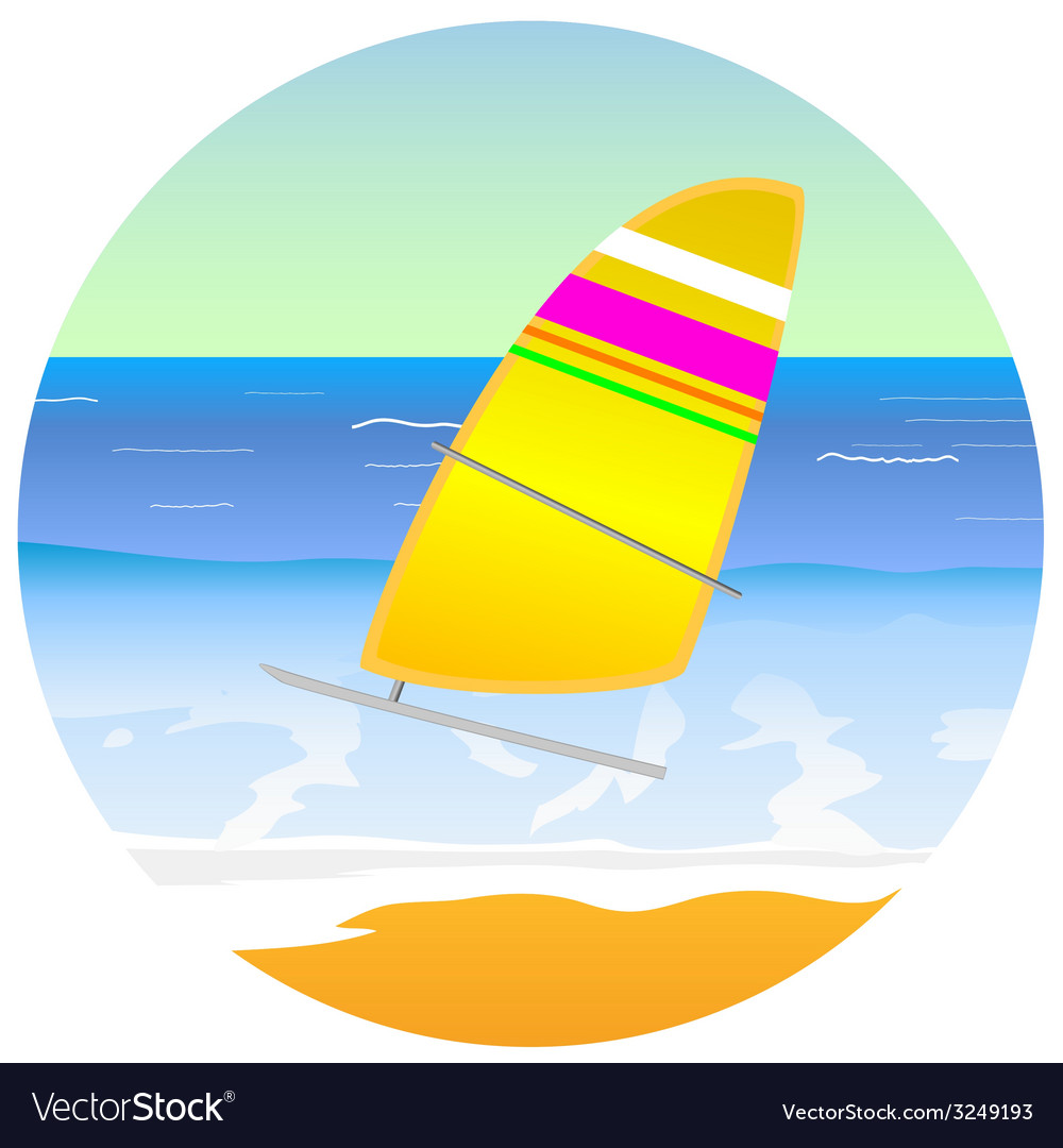 Sailboat on the paradise beach vector | Price: 1 Credit (USD $1)