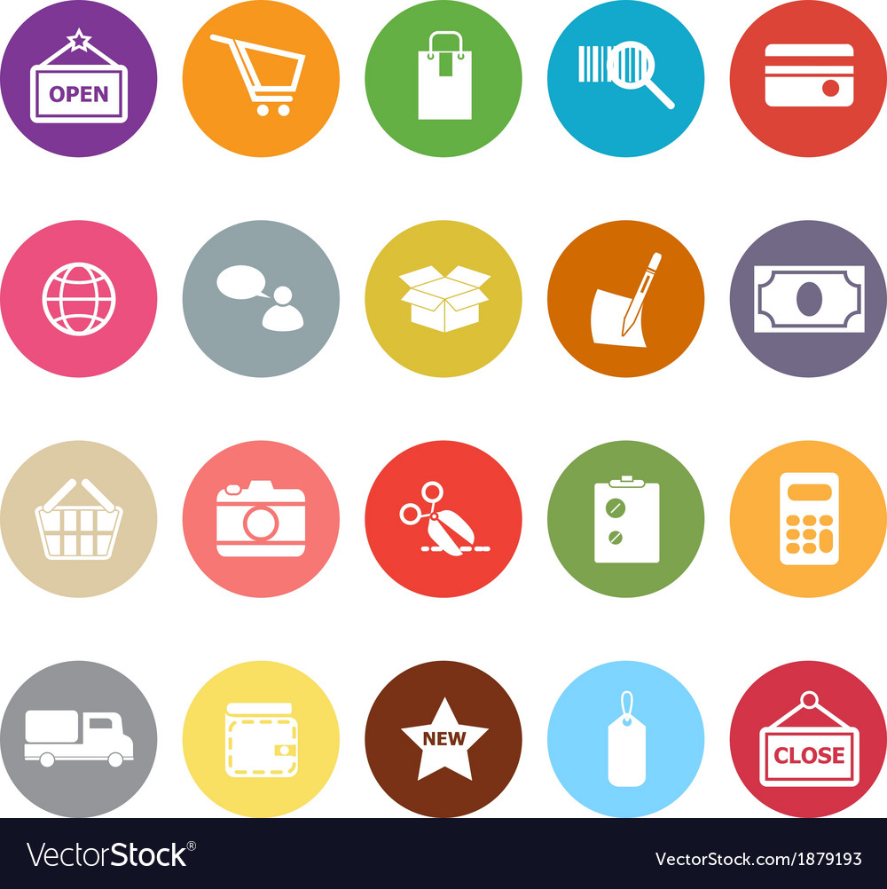 Shopping flat icons on white background vector | Price: 1 Credit (USD $1)