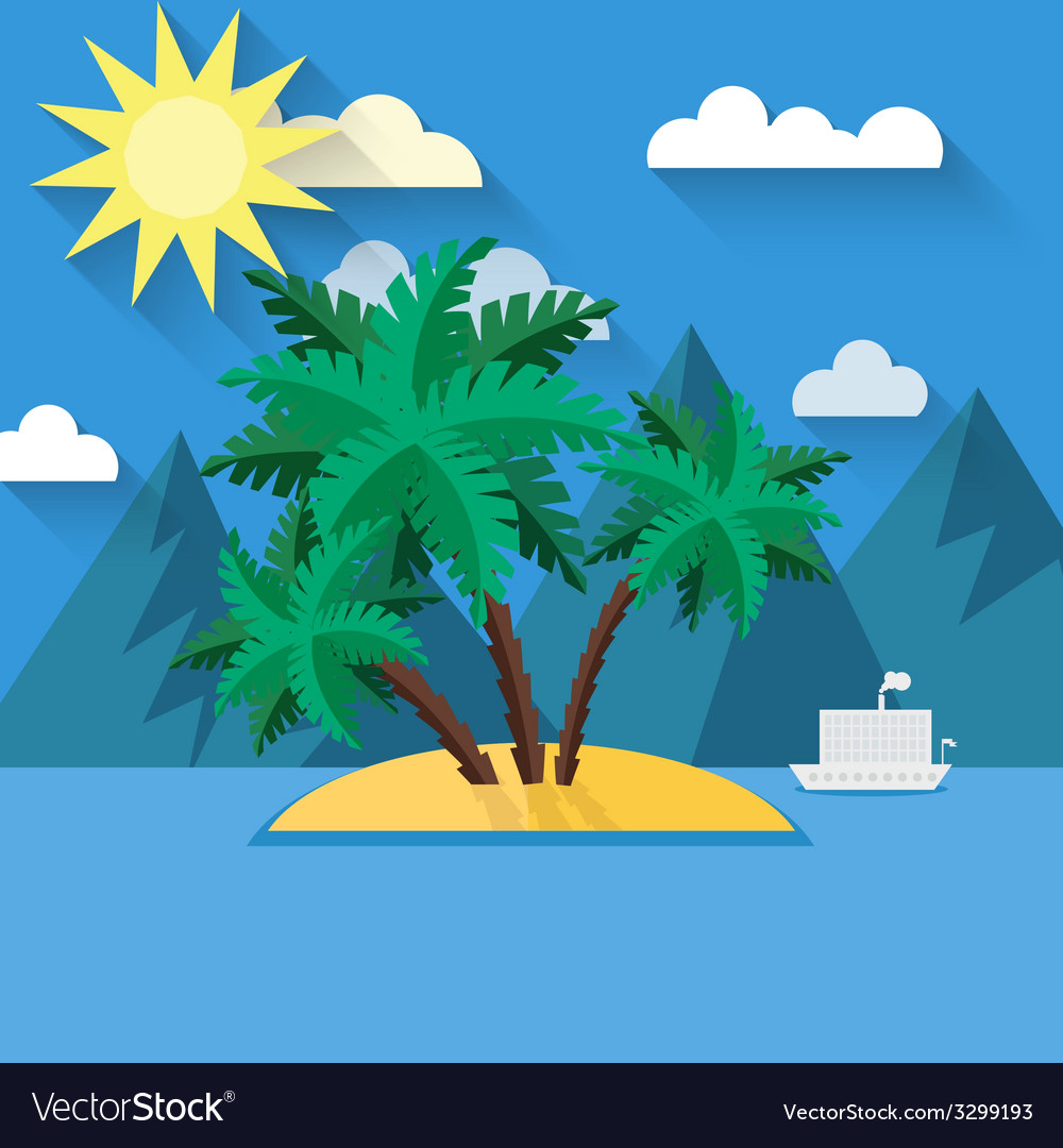 Summer landscape in flat style vector | Price: 1 Credit (USD $1)